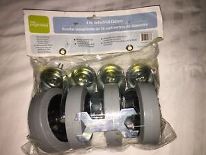 4 Threaded Industrial Caster 2 Wheels Are Locking