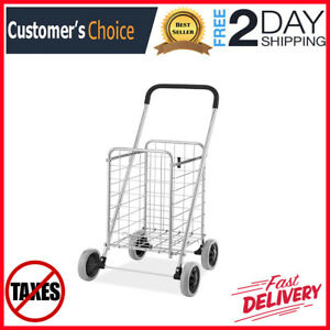 Folding Shopping Cart Rolling Utility With Heavy Duty Easy Snap On Wheels