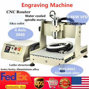 4 Axis Cnc 3040t Router Engraver 800w Engraving Drilling Milling Machine Usa New