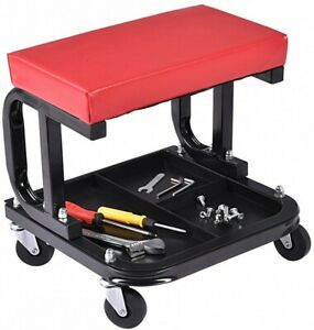 2 In 1 Mechanic Stool Chair Creeper With Tool Shelf Caster Wheels Motorcycle