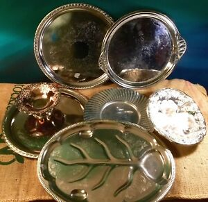 Lot 7 Vintage Silver Plated Serving Platter Tray Patina Large Nostalgic Dinner