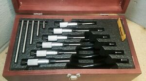Starrett No 436 0 To 6 Outside Micrometer Set In Beautiful Wood Case U s a