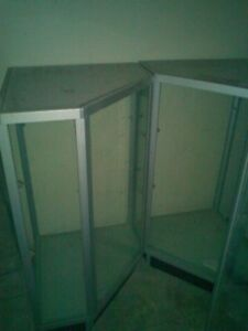 3 Store Display Glass Cases With Shelves
