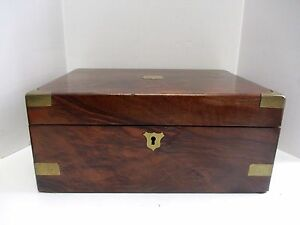 Antique English Hand Made Monogrammed E S Brass Rosewood Travel Lap Desk