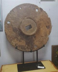 Antique Large Chinese Wood Ox Cart Wagon Wheel