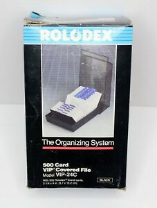 Rolodex The Organizing System 500 Cards Covered File Vip 24c New In Box Vintage
