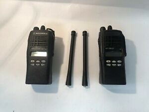 Lot Of 2x Motorola Ht1250ls Vhf Portable Radios W batteries Aah25kdf9d5an