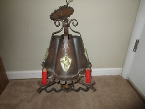 Antique Wrought Iron Metal Hanging Light Lamp Porcelain Wood Decor Gothic