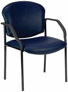 Anti bacterial Navy Vinyl Reception Office Side Chair Waiting Room Chair