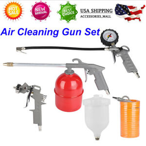 5pcs Auto Paint Air Spray Gun Kit Gravity Feed Car Primer Set 5m Air Hose