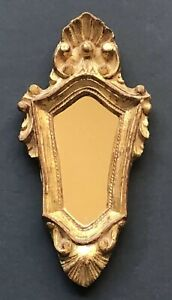 Vintage Gold Italy Italian Antique Mirror Framed Small Frame Florence Handmade