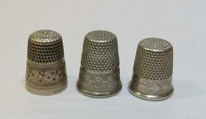 3 Antique Vintage Nickel Silver Thimbles England Germany Simons Sbc