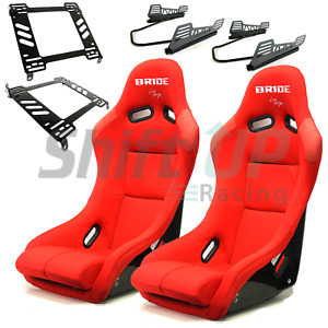 Pair Of Bride Vios 3 Iii Red Low Max Seats Slider Mount Honda Civic Eg6 92 95