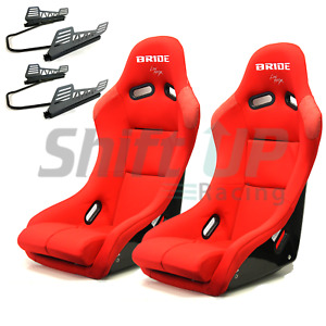 Pair Of Bride Vios 3 Iii Red Low Max Seats Slider And Long Side Mount Race Drift