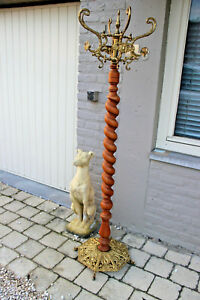 Rare French Barley Twist Wood Carved Brass Coat Hall Tree Rack Stand 1960