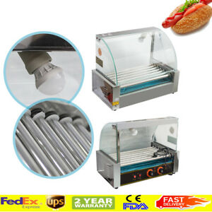 Commercial Home 18 Hot Dog Hotdog 7 Roller Grill Cooker Machine W Cover 110v