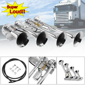 12v 24v 185db Super Loud Four Trumpet Air Horn For Car Truck Train Boat Silver