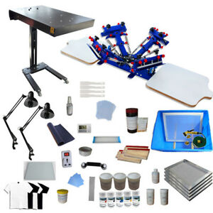4 Color Screen Printing Kit Micro Adjust Press Machine Flash Dryer Exposure Unit