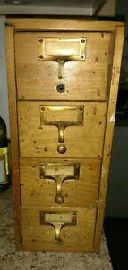 Vintage Library Card Catalog Four Drawer Dovetail