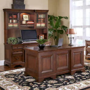 Ryland 3 piece Home Office Suite 66 Executive Desk Credenza And Hutch