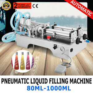 Two Heads Pneumatic Liquid Filling Machine 100 1000ml Stainless Juicer Filler