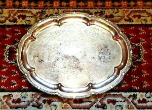 Large Silver On Copper Silver Plate F B Rogers Handled Serving Platter Or Tray