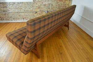 Jens Risom Designs Danish Mid Century Modern Walnut Plaid Armless Sofa Couch