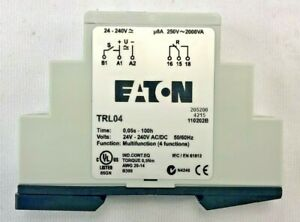 Eaton Trl04 Timing Relay programmable Din Rail Panel Mount fixed Contacts