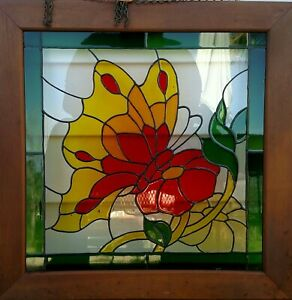 Vintage Colored Stained Leaded Glass Framed