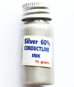 Silver Conductive Paste Paint Ink Pcb Membrane Screenable 50 silver 15 Grams