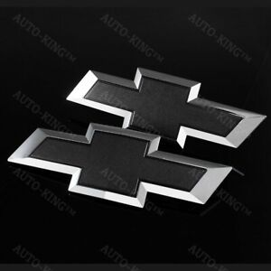 For 2014 2015 Gm Chevy Silverado Black Front Grill Tailgate Bow Tie Emblem