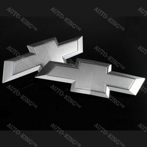 For 2014 2015 Gm Chevy Silverado Silver Front Grill Tailgate Bowtie Emblem