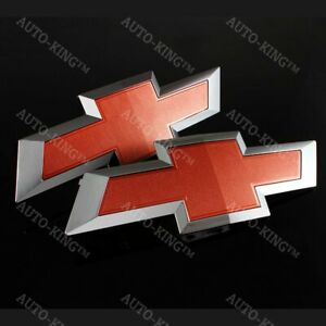 For 2014 2016 Gm Chevy Silverado Red Front Grill Tailgate Bowtie Emblem Set