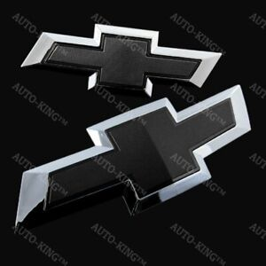 For 2017 2018 Chevy Chevrolet Malibu Front Grille Rear Black Bowtie Emblem Set