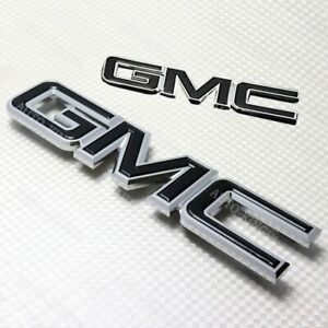 Front Grill Grille Rear Emblem Badge Black Set For 2007 2013 Gmc Yukon Xl 1500