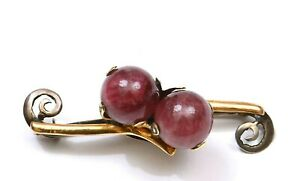 1930 Chinese 14k Gold Sterling Silver Tourmaline Carved Carving Bead Pin Brooch