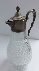 Vintage Leaded Crystral Glass Acorn Decanter Diamond Pattern Mid Century Modern