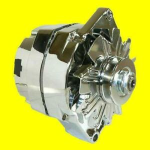 New Alternator Chrome Bbc Sbc Chevy 105 Amp 1 Wire High Output One Wire