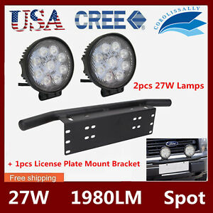1x Universal Bumper License Plate Mount Bracket 2x 27w Led Spot Work Light Round