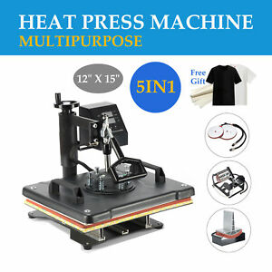 5in1 T Shirt Heat Press Machine For Mug Hat Plate Cap Mouse Pad W Silicone Pad