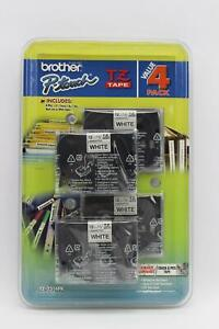 4 Pack Genuine Brother P touch Tz 1 2 12mm Laminated White Tape Tz 2314pk
