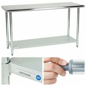 24 x60 Adjustable Table Work Prep Undershelf Restaurant Kitchen Stainless Steel