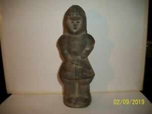 Early 1900s Clay Figurine Of 7 Tall Eskimo Hollow Red Clay Inside Grey Outside