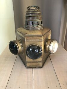 Antique Ship Bow Vintage Lantern Lamp Brass With 3 Lens Nautical