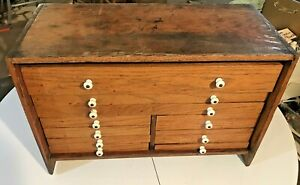 Antique Oak Dental Tool Cabinet W Milk Glass Knobs 10 Drawers