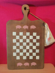 Wooden Cutting Board Shaped Checkerboard Game Set