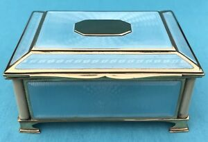 Lovely Austrian Solid Silver Gilt Guilloche Enamel Box C1900 335 7g