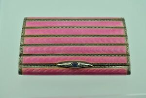 Swiss Guilloche Enamel Ladies Cigarette Case Export To Germany Art Deco