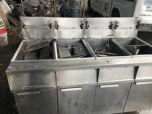 Frymaster Model 4 Bay Gas Commercial Deep Fryer Used burger King They Up Graded