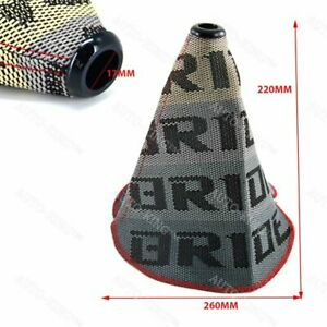 Red Stitches Jdm Bride Racing Hyper Fabric Shift Knob Shifter Boot Cover Mt At